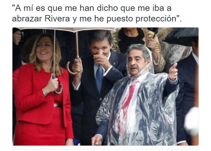 """Miguel Ángel Revilla en: """"Quiero chubasquero por si a Rivera veo""""."""