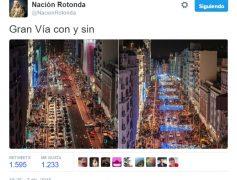 La Gran Vía de Madrid con y sin coches por @NacionRotonda