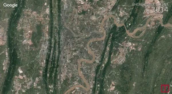 Foto satélite: Evolución de la ciudad china de Chongqing en 30 años