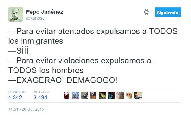 """""""Para evitar atentados expulsamos a TODOS los inmigrantes…"""" by @Kurioso"""