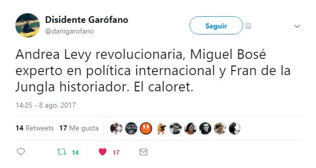 Andrea Levy, Miguel Bosé y más